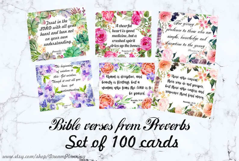 Bible Verse Cards Printable Bible Journaling Cards Scripture Etsy