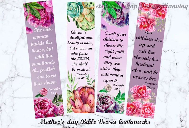 Mother\u0027s day bible verses bookmarks christian mother day Etsy