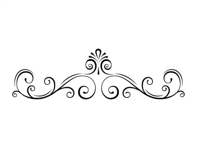 Page border SVG Swirl Decorative filigree divider Scroll Etsy
