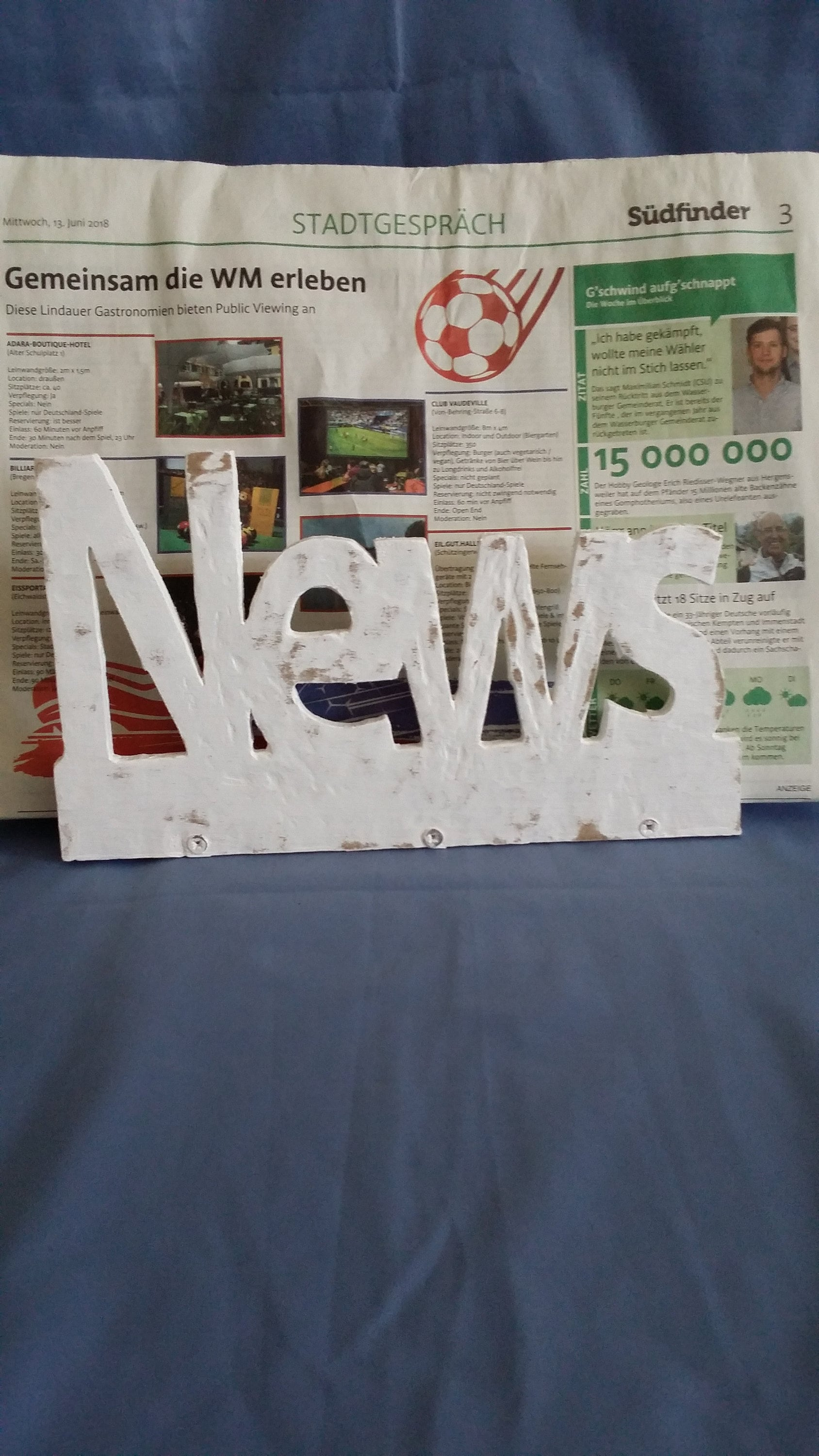 Shabby Deutsch Newspaper Rack In Shabby Chic Style