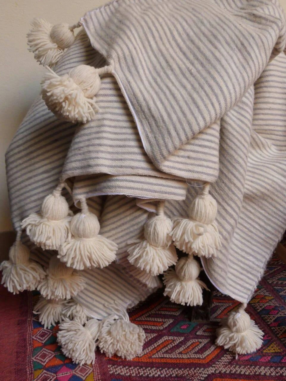Throw Blankets Moroccan Pom Pom Blankets With Tassels Throw Blankets Striped Bed Blankets Cover Bed Wool Blankets Handmade Blanket White Gray Blanket