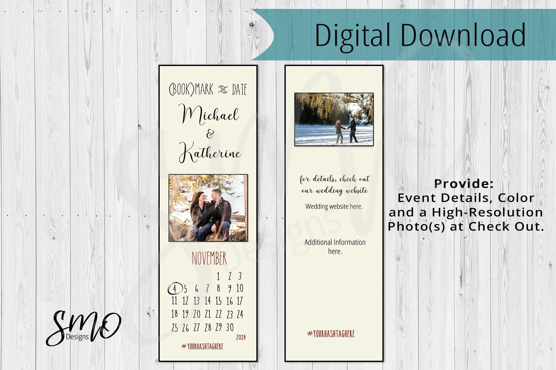 Save the Date Calendar Invitation Bookmark size Wedding Etsy