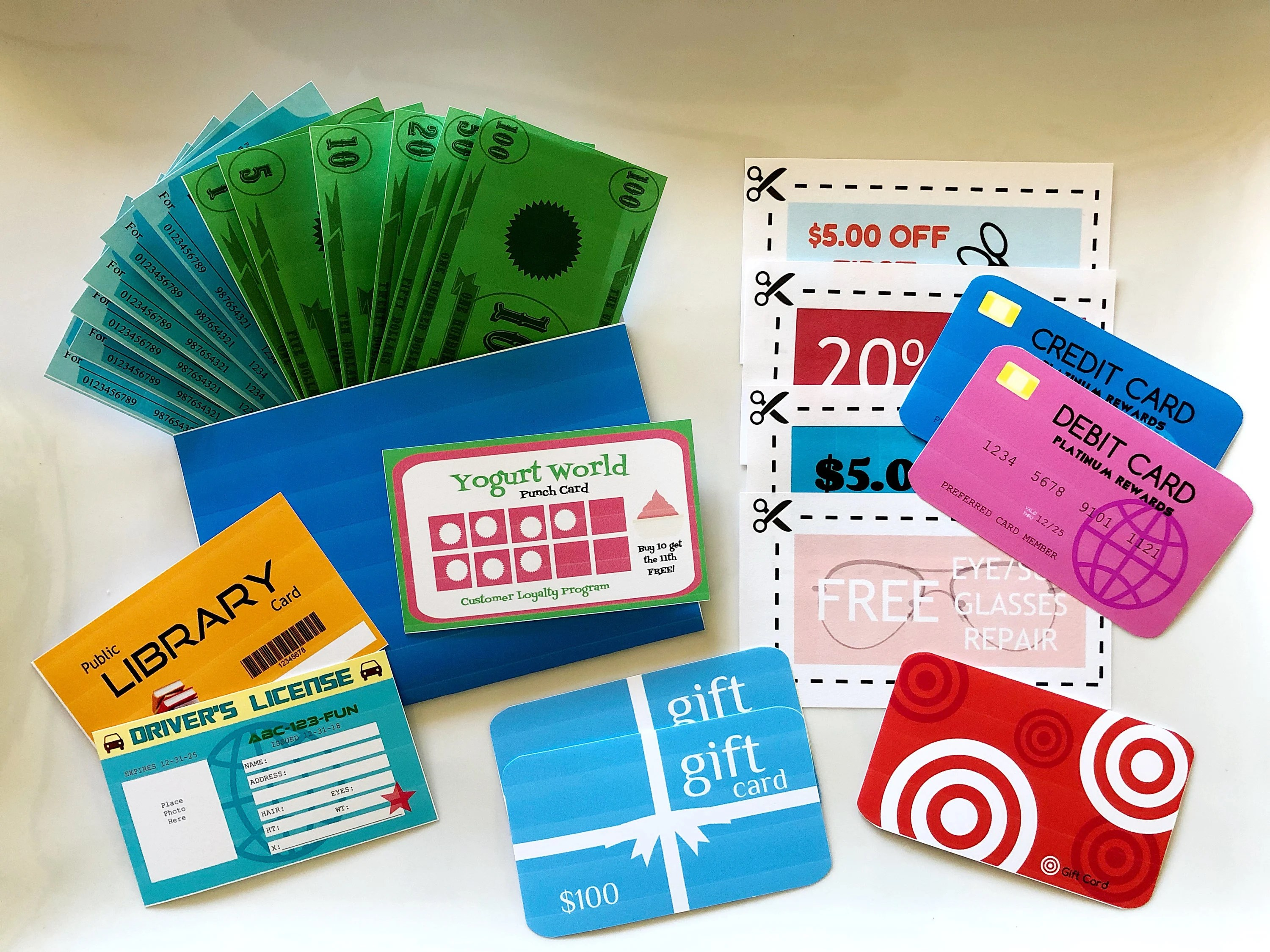Blue Play Wallet Printable with Play Cards Play Money Play Etsy