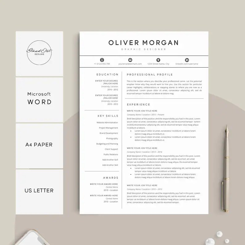 Resume Template Professional Resume Cover Letter 5 Page Etsy