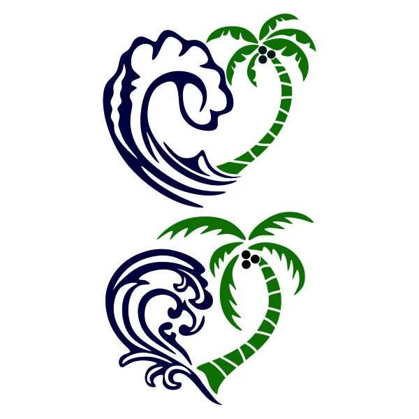 Ocean Is Love Palm Tree Wave Beach Ocean Design PNG DXF SVG  Etsy