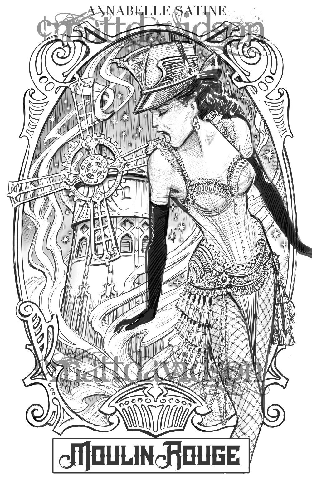 Moulin Rouge Libro Moulin Rouge Adult Colouring Page Victorian Coloring Book Grayscale Black And White Sepia Antique Engraving
