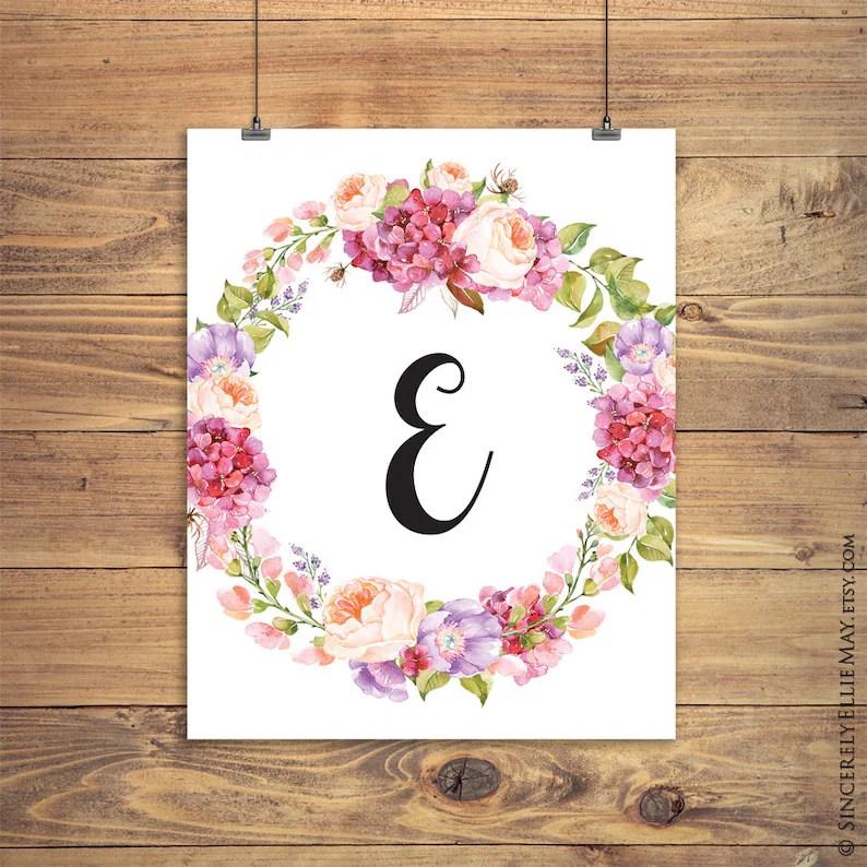 Watercolor Floral Letter E Monogram Printable Initial Etsy
