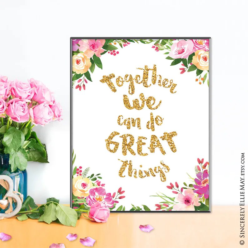 Together We Can Do Great Things Quote Positive Affirmation Etsy