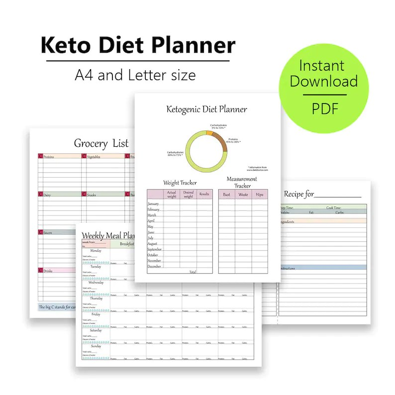 Keto Diet Planner for low carb diets Weekly diet planner Etsy