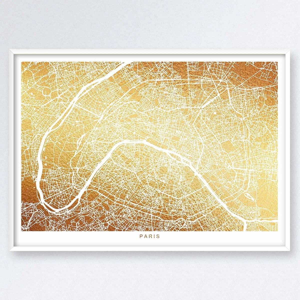 Paris Map Gold Map Map Of Paris France Map Print Map Wall Etsy