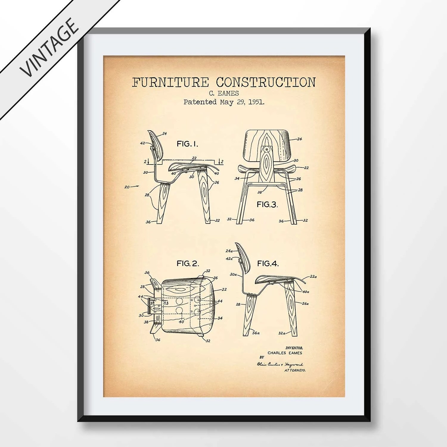 Eames Chair Patent Eames Chair Patent Drawing Eames Chair Blueprint Poster Furniture Artwork Home Decor Living Room Wall Art Office Decor Mid Century Art