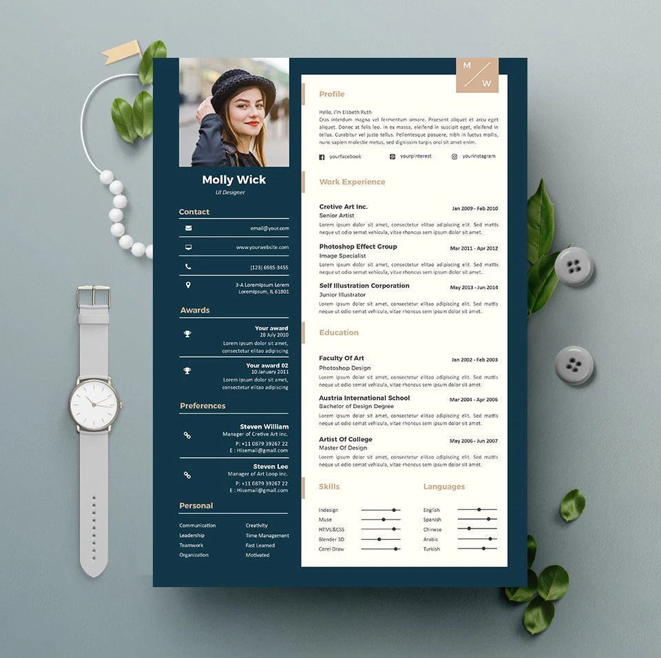 Professional Resume Template Instant Download 2 Pages CV Etsy