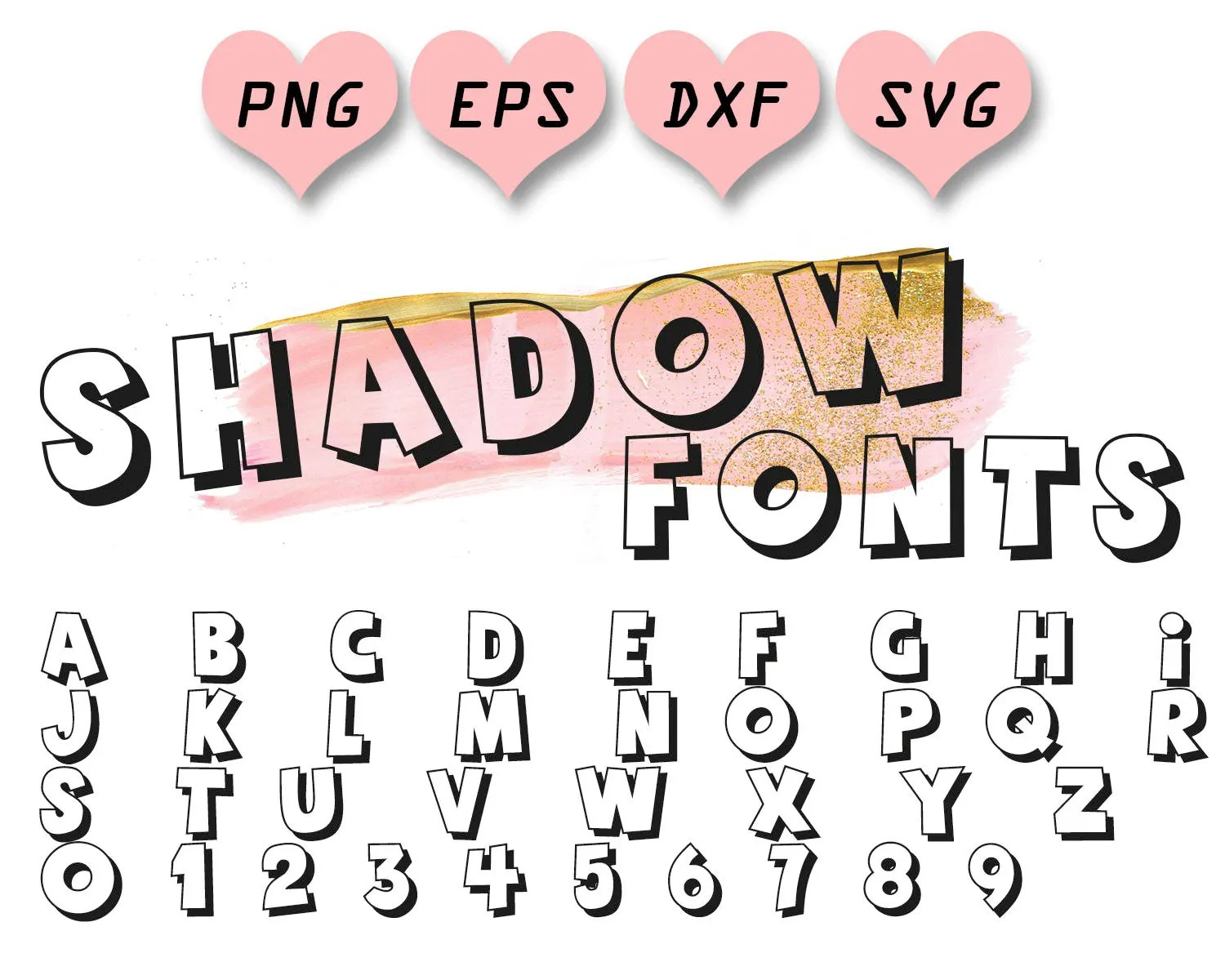 Shadow fonts svg block letters svg block fonts svg cartoon Etsy