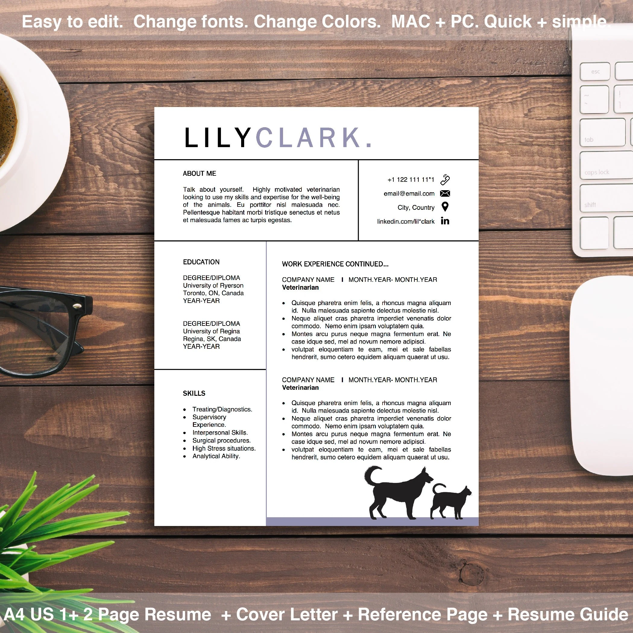 Veterinarian Resume Template Design for Word Instant Download Etsy