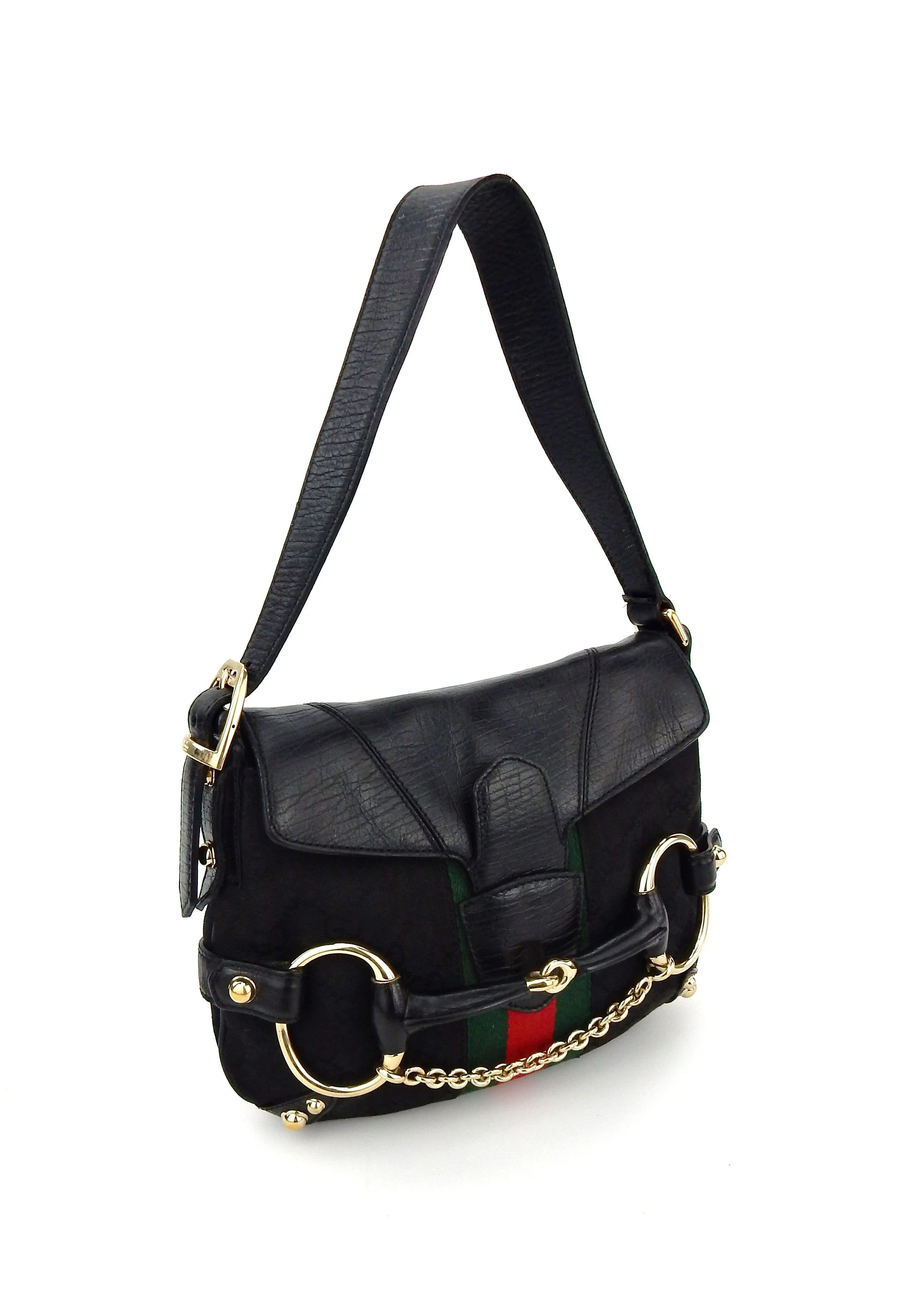 Etsy Vintage Gucci Authentic Vintage Gucci Black Horsebit Web Gg Monogram Canvas Leather Shoulder Bag Italy