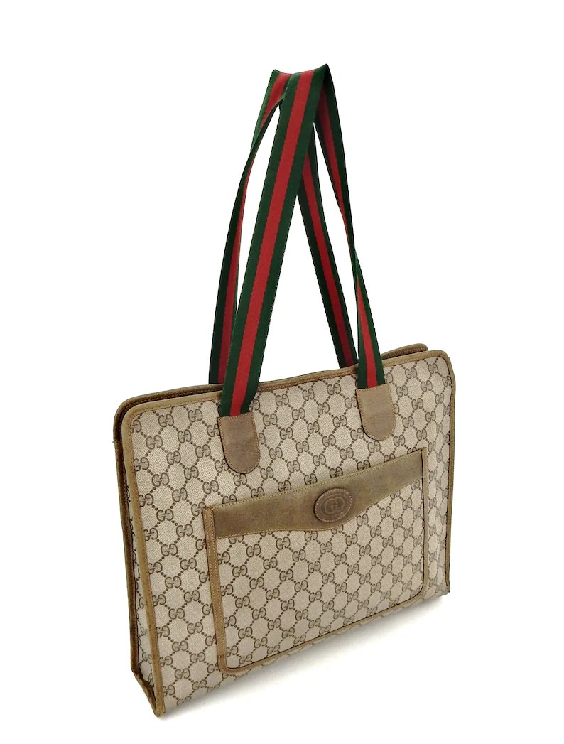 Etsy Vintage Gucci Rare Authentic Vintage Gucci Supreme Web Gg Monogram Canvas Leather Shoulder Tote Wide Shopper Bag