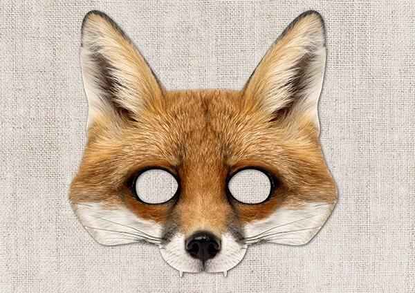 Fox Printable Mask Fox Red Fox Photo-Real Fox Mask Etsy