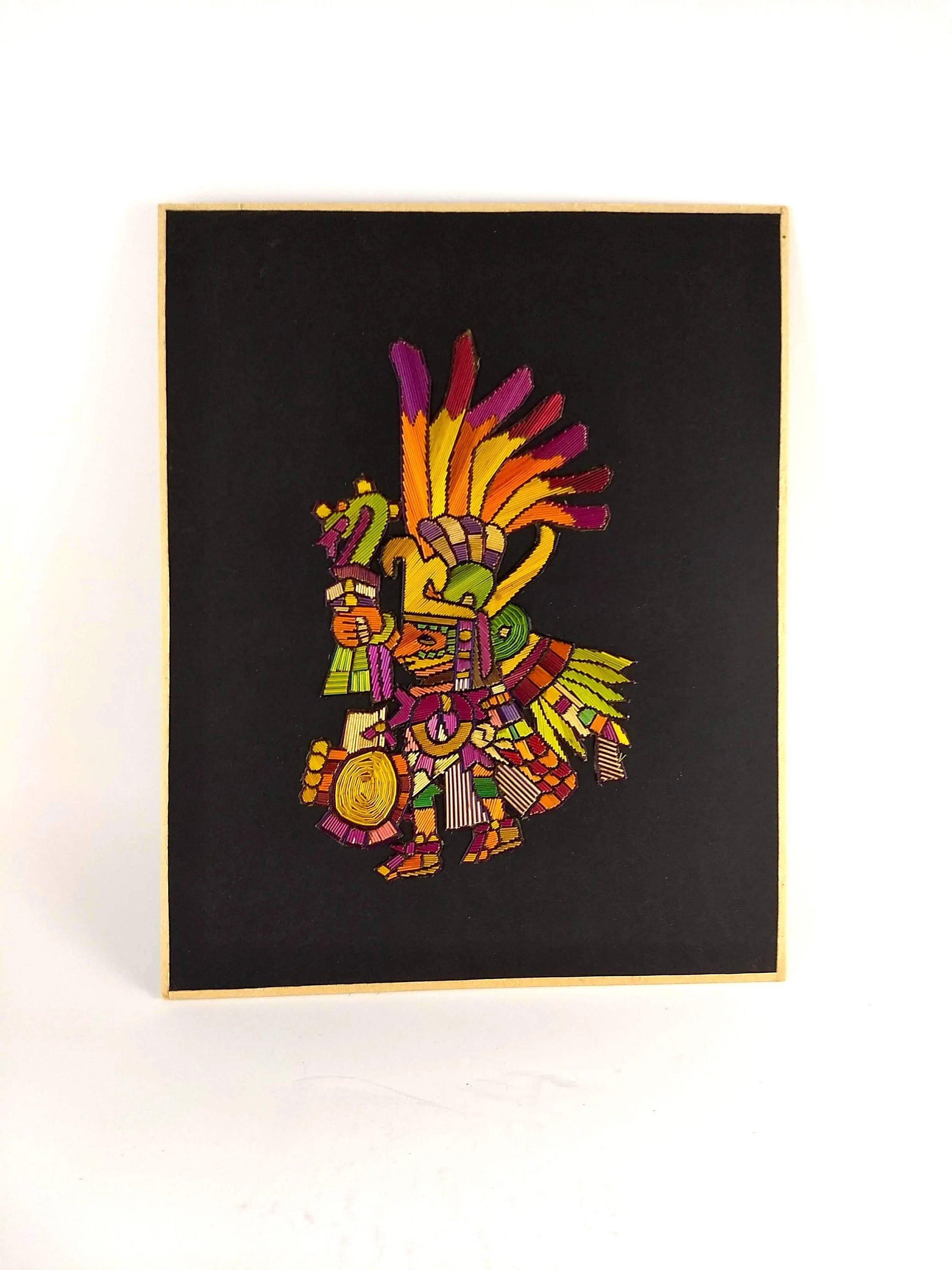 Arte Traducir Al Latin Vintage Latin American Art Handmade Mexican Art Craft Art Folk Art Native American Myth Aztec God Mayan God Colorful Small Gift Boho