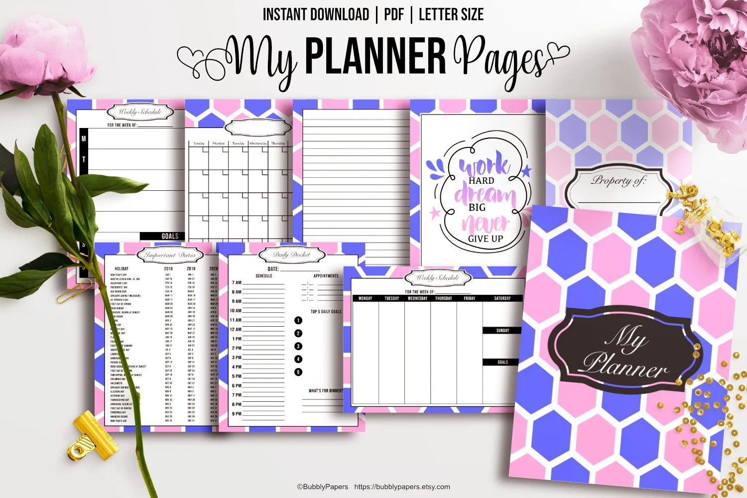 Printable Planner Pages Weekly Schedule Template Daily Planner Etsy