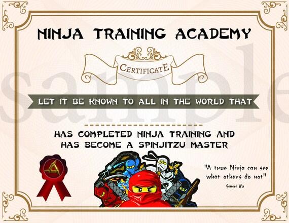 INSTANT DL Ninjago Training Certificate Ninjago Birthday Etsy