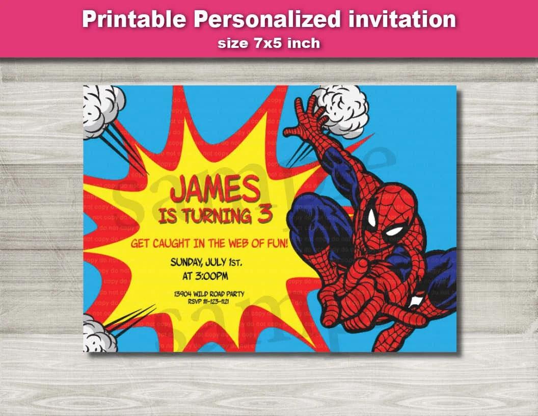 Spiderman Invitation spiderman marvel Birthday party Etsy