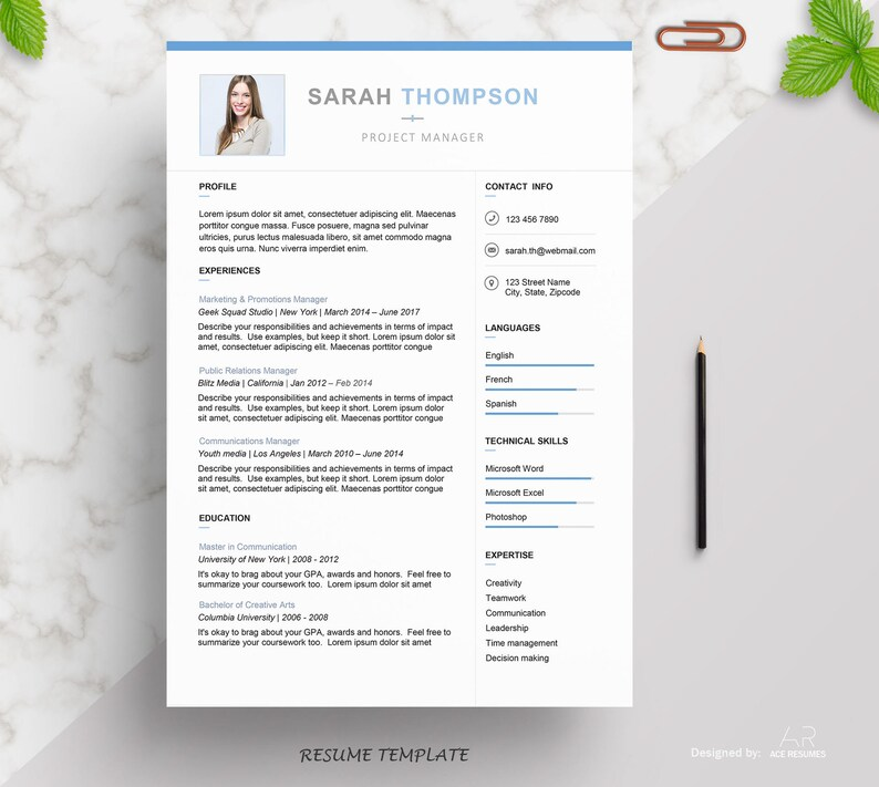 Professional Modern Resume Template for Word Creative Etsy