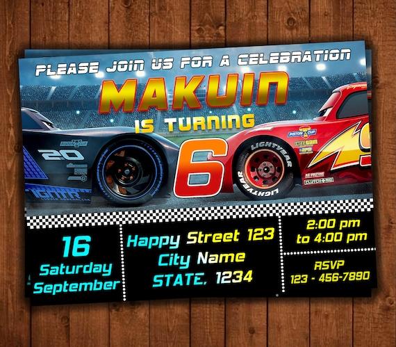 Cars 3 Invitation Birthday Themed Etsy