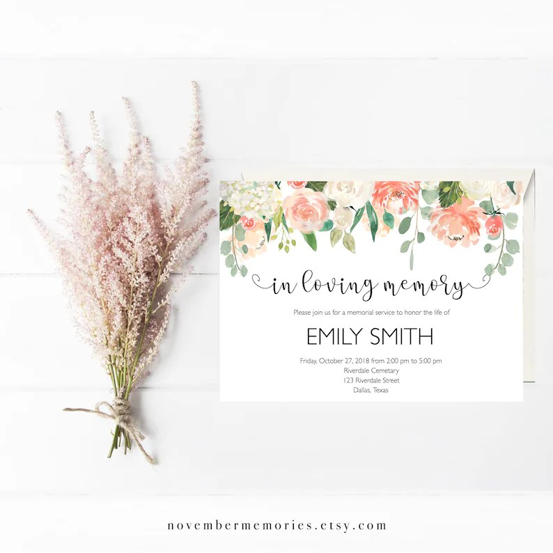 Funeral Announcement Memorial Service Invitations Funeral Etsy