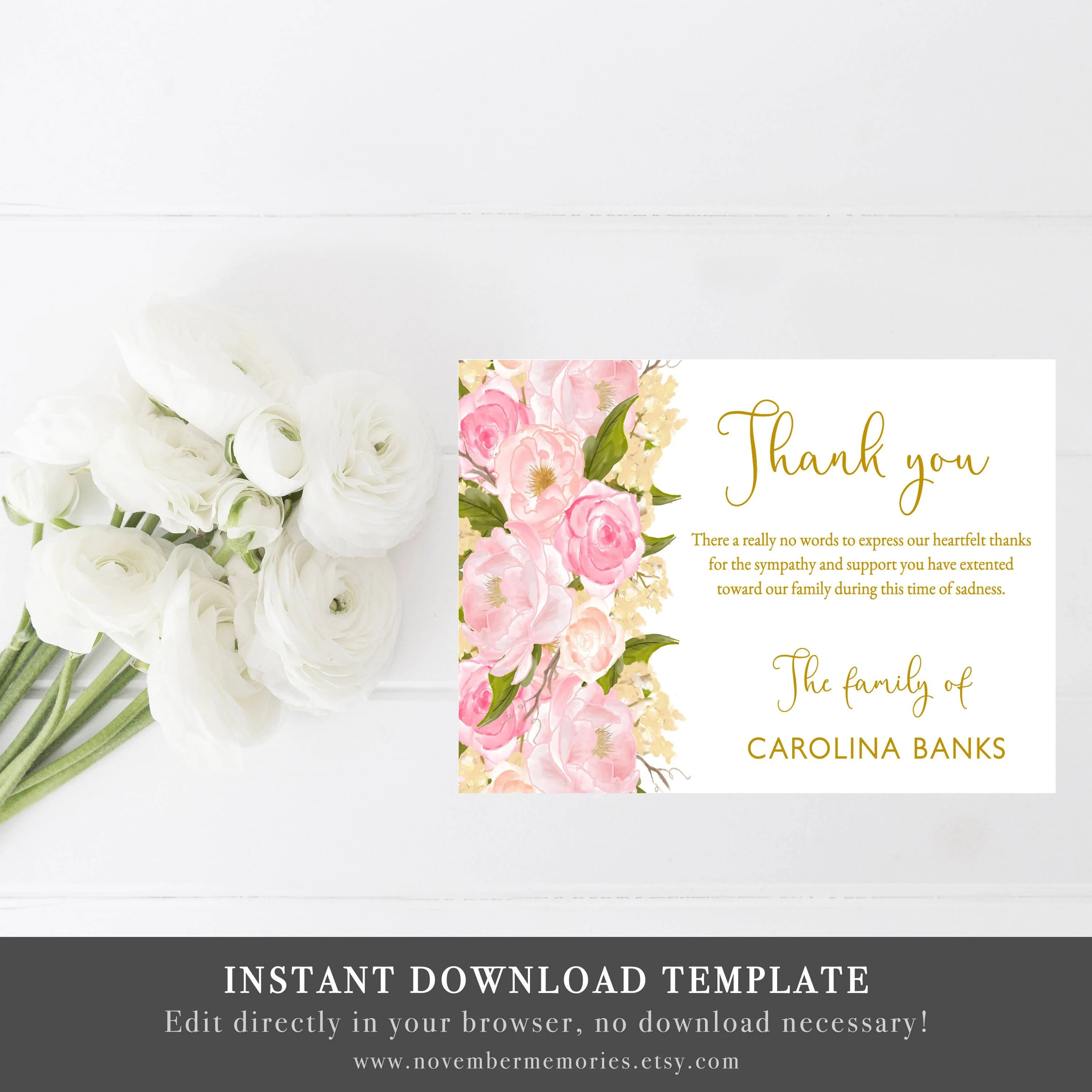 Funeral Thank You Cards Sympathy Thank You Notes Bereavement Etsy