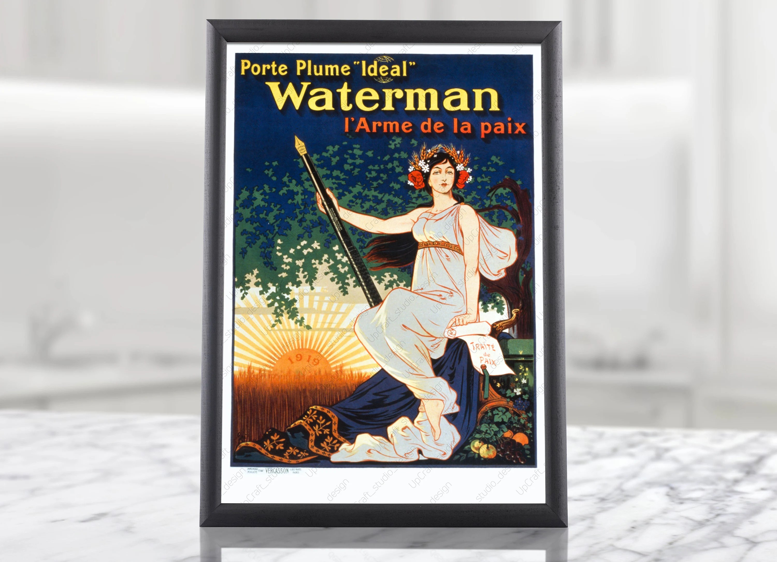 Poster De Porte France Military Propaganda Digital Poster Waterman Weapon Of Peace Ww1 Wwi Wartimes French Woman France 1919 Militaria Military Art