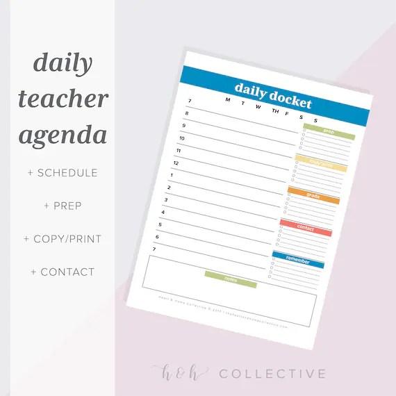 Teacher Daily Planner Teacher Organizer Teacher Daily Etsy