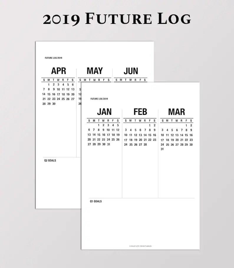 2019 Future Log Sunday and Monday Start 3 Month Calendar Etsy