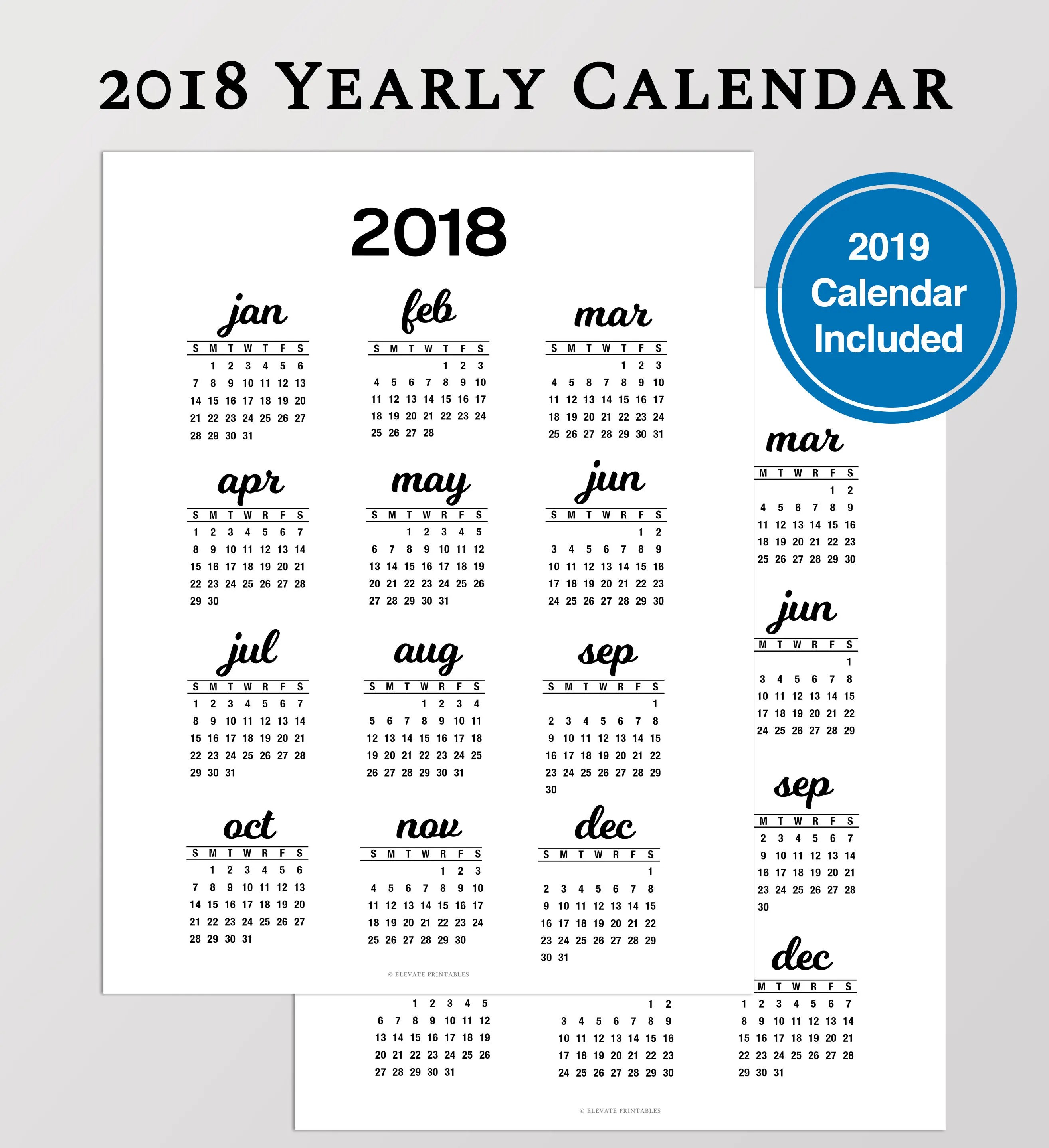 2018 Year At A Glance Calendar Printable Yearly Calendar Etsy