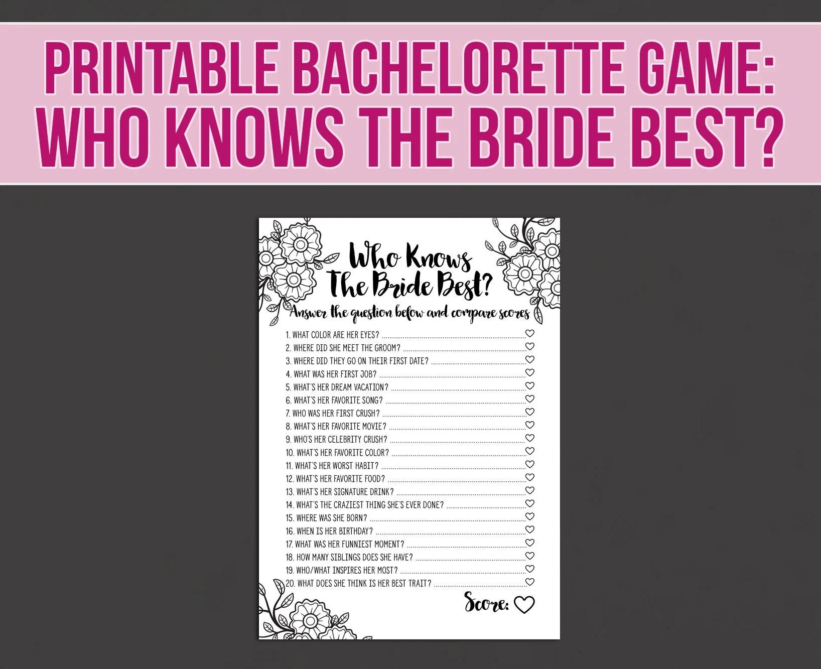 Bachelorette Game Who Knows The Bride Bestfun bachelorette Etsy