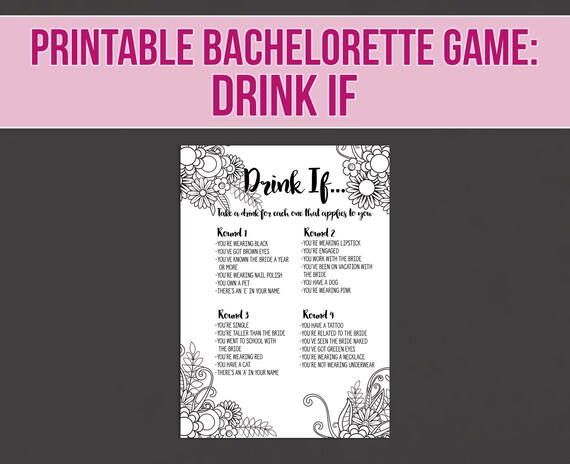 DRINK IF Bachelorette Game bachelorette party game printable Etsy