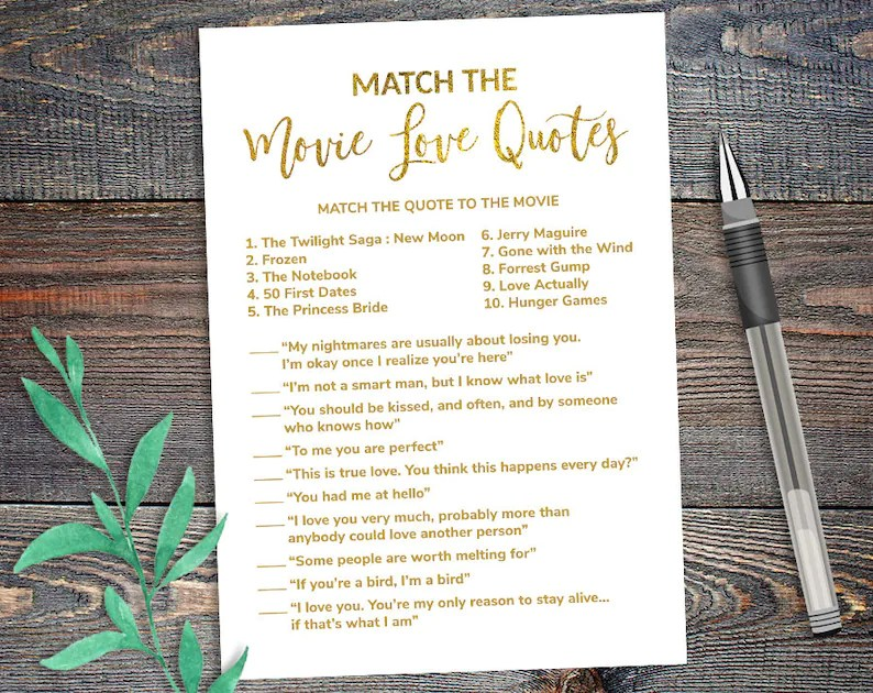 Match the Movie Love Quotes Game Bridal Shower Gold Foil Etsy