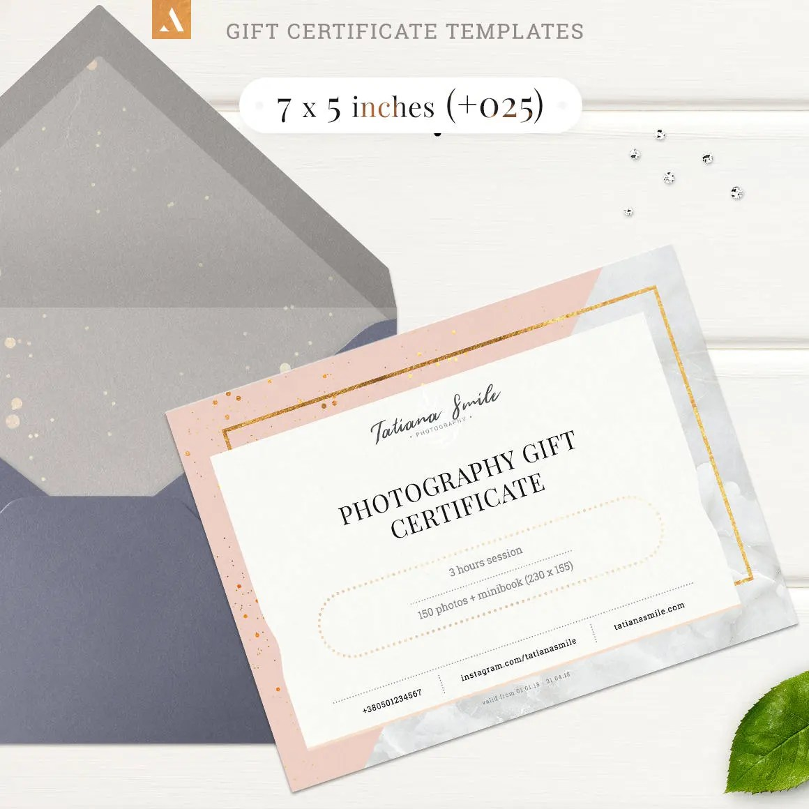 7 styles Gift Certificate Templates Photography Gift Card Etsy