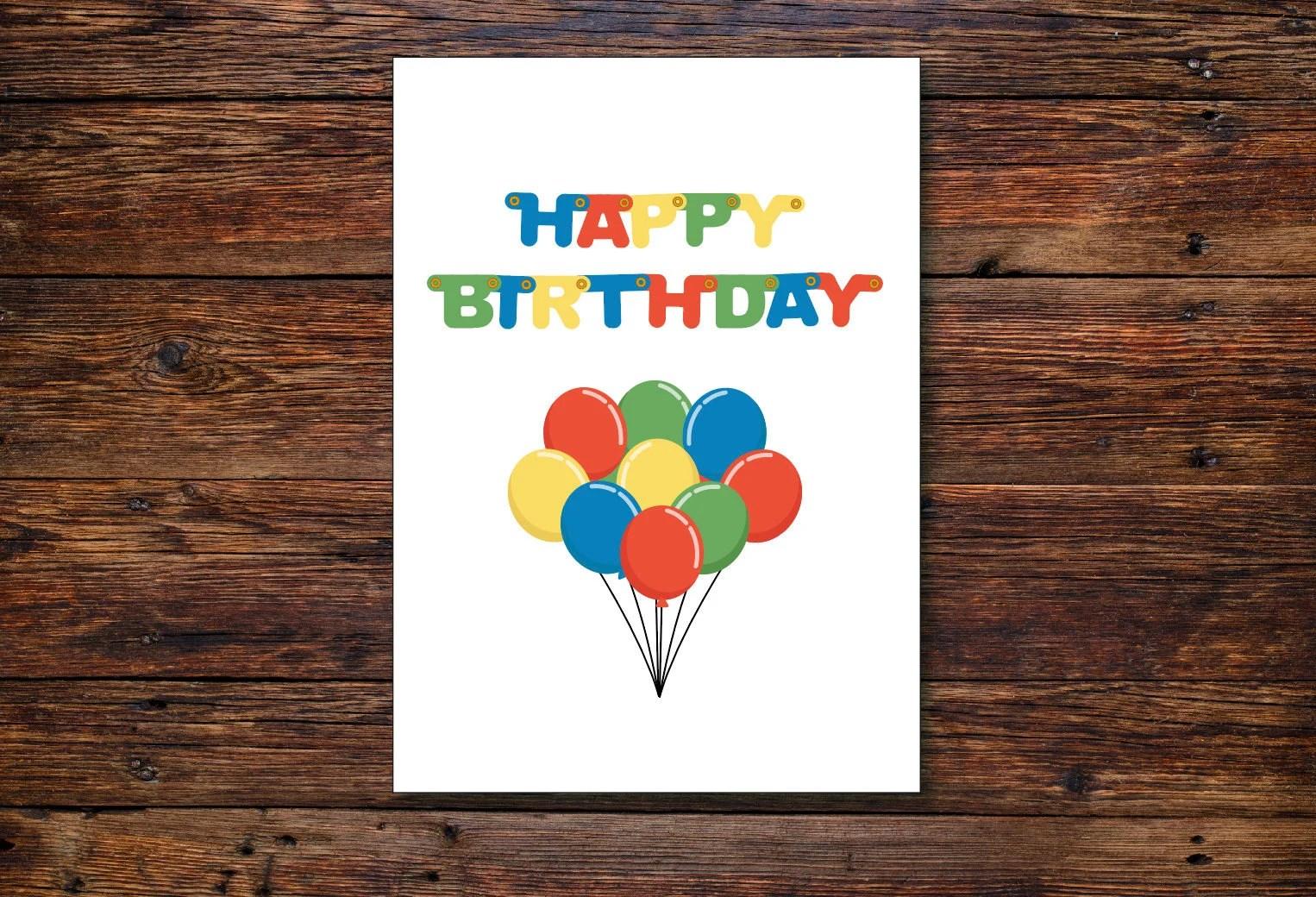 PRINTABLE BIRTHDAY CARD Happy birthday balloons kids Etsy