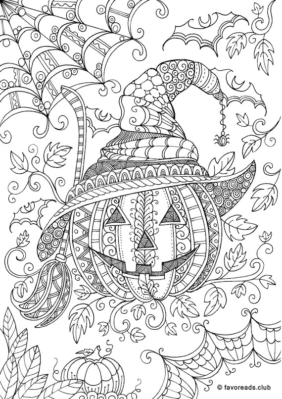 Halloween Bundle 10 Printable Adult Coloring Pages from Etsy