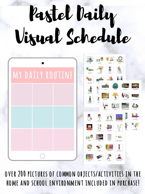 Daily Visual Schedule Cards Pastel PRINTABLE Visual Aids for Etsy