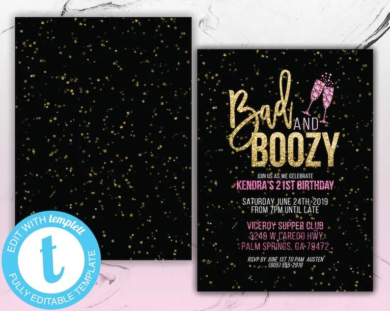 Bad and Boozy 21st Birthday Party Invitation Printable Etsy