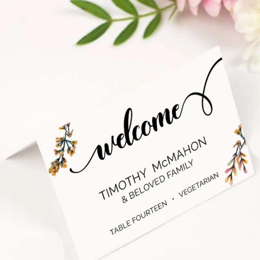 Double Sides Place Card Wedding Template Printable, Editable Seating