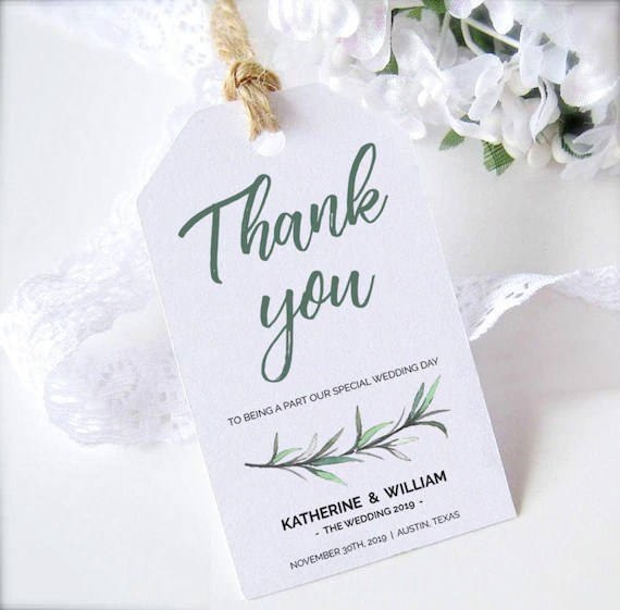 Greenery Wedding Favors Tags Printable Template, Green Thank You