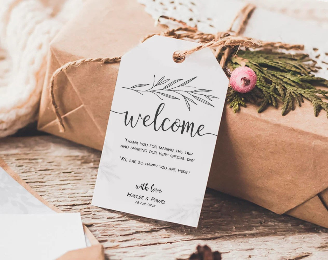 Welcome Wedding Tags Template, Welcome Tags, Welcome Bag Tags