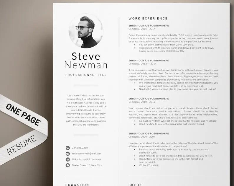 Minimalist Resume Template Word Professional Resume Cv Etsy