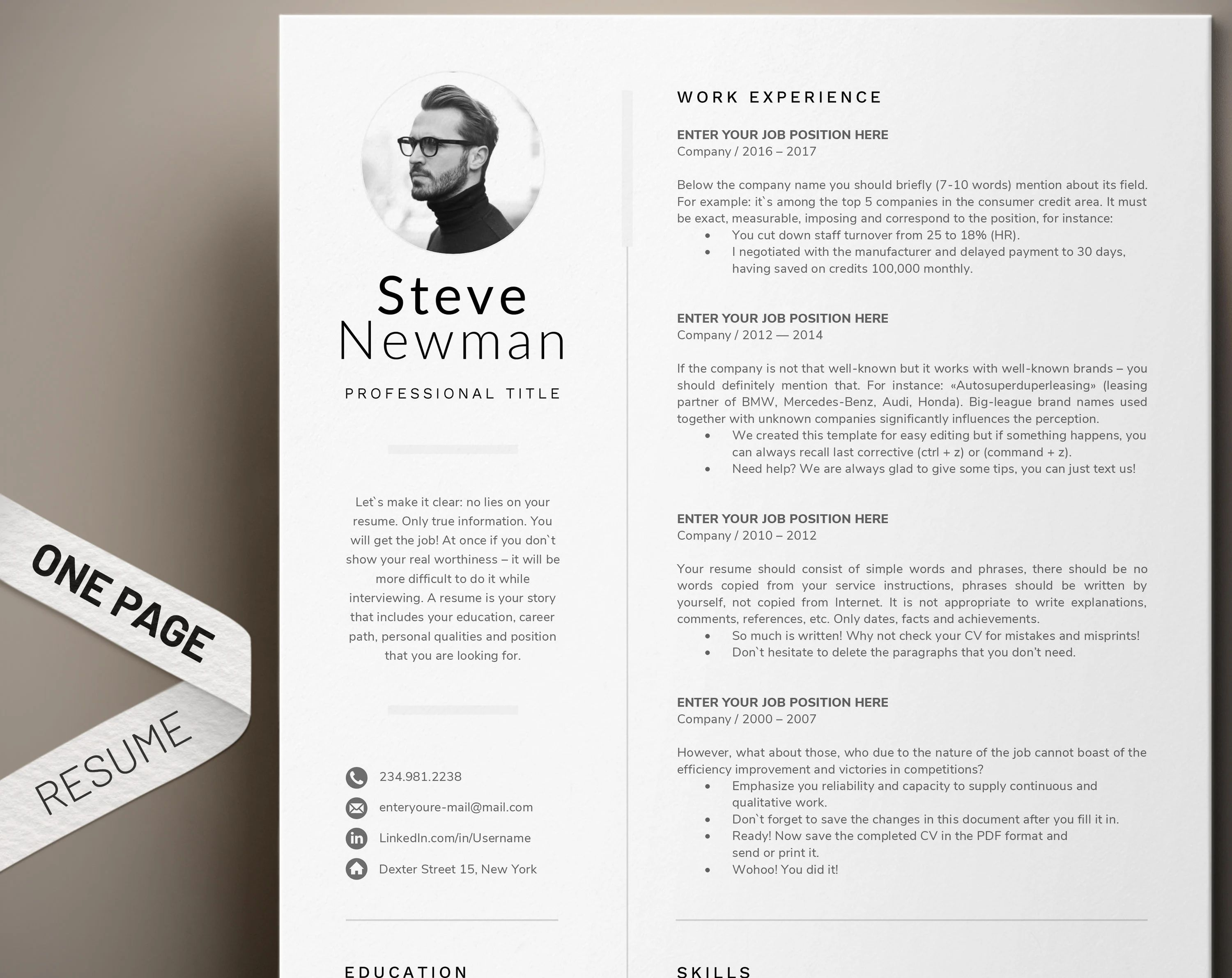 marketing cv word template