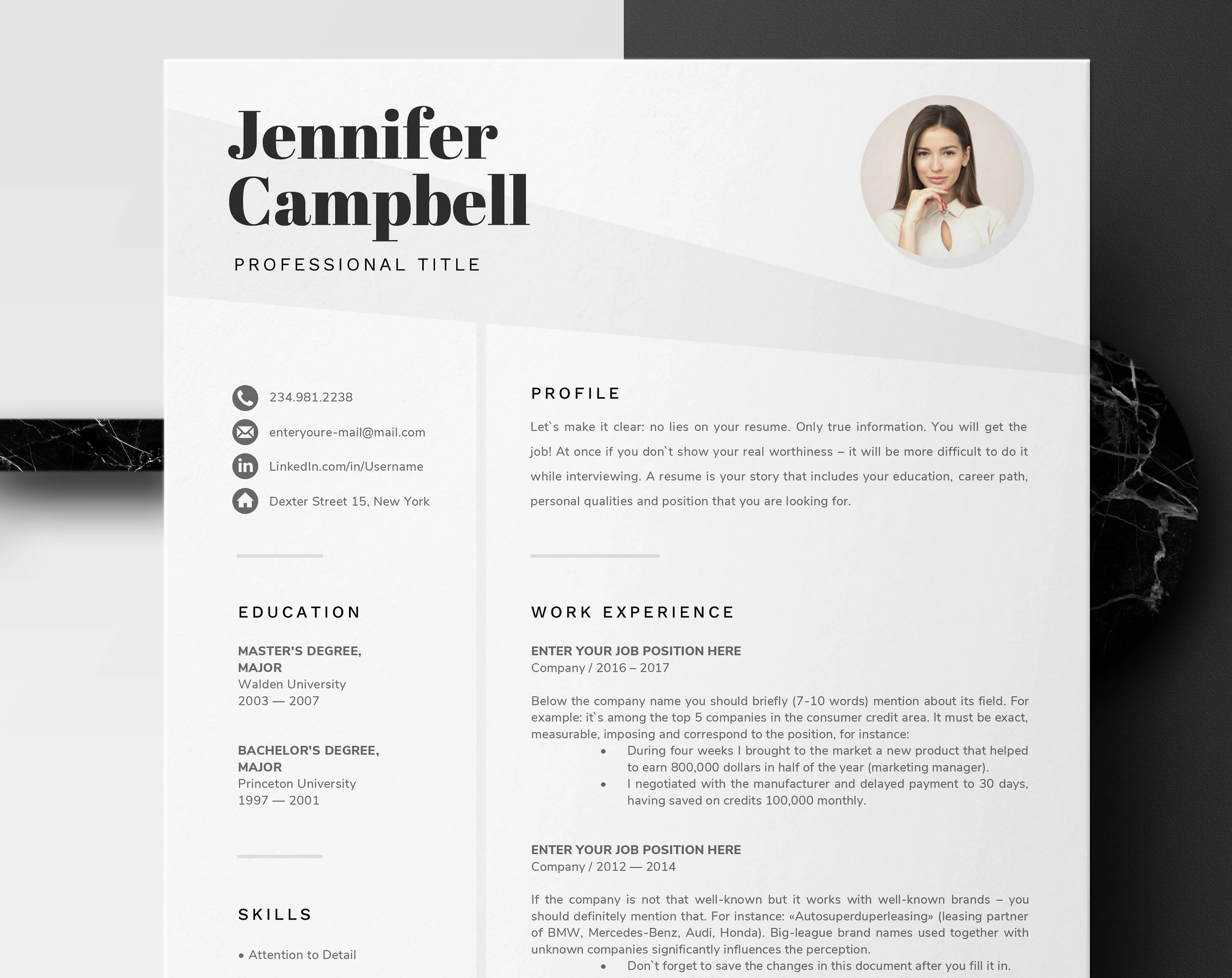 Microsoft Word Resume Template Microsoft Word Resume Template Creative Resume Design With Photo Cv Template For Word Professional Resume 1 And 2 Page Instant Download