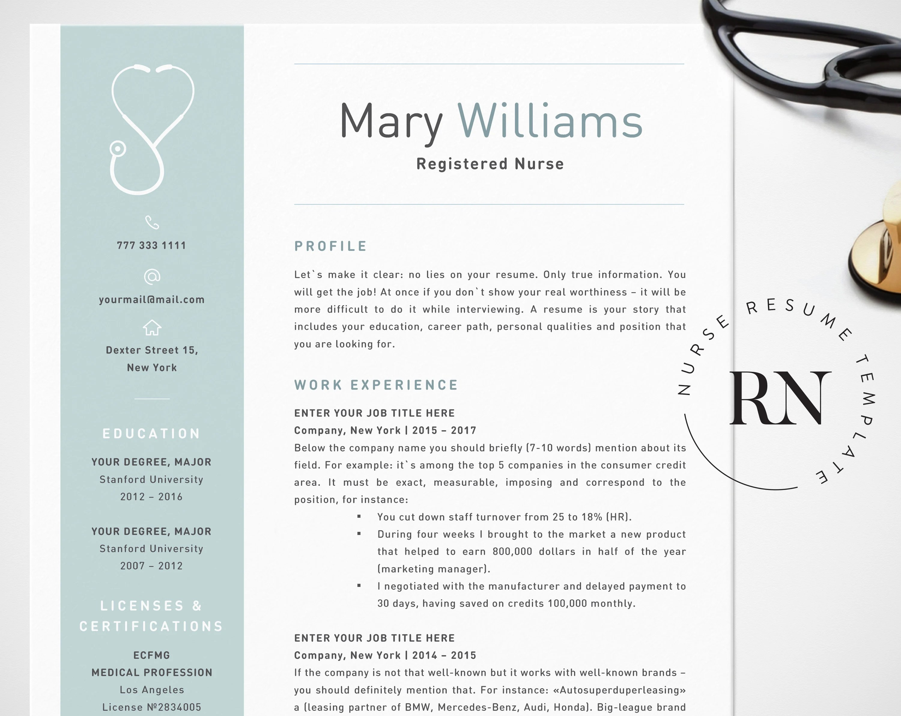 Nurse Resume Template for Word Medical Resume Word Nurse CV Etsy