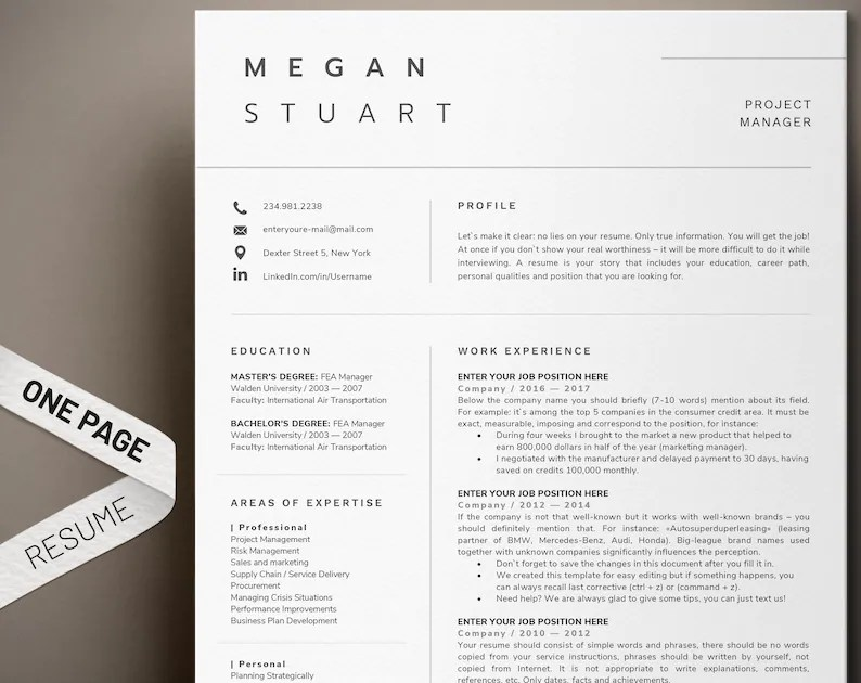 Resume template Professional resume 1 page resume Modern Etsy