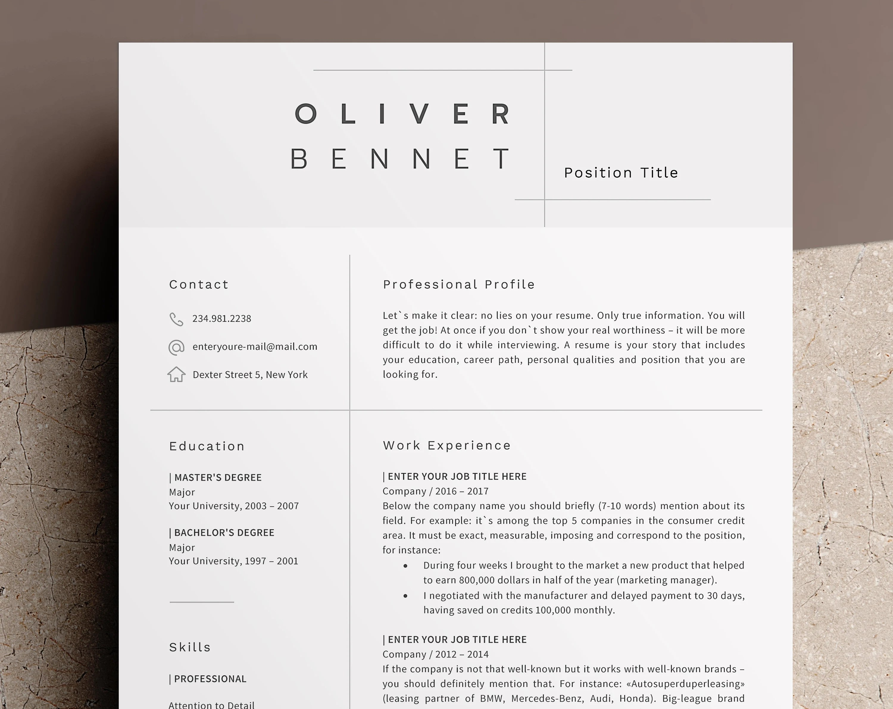 Minimalist Resume Template Cv Template 3 Page Resume Etsy